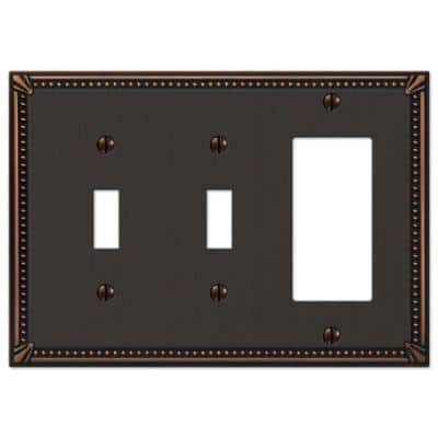 Imperial Bead 3 Gang 2-Toggle and 1-Rocker Metal Wall Plate - Aged Bronze
