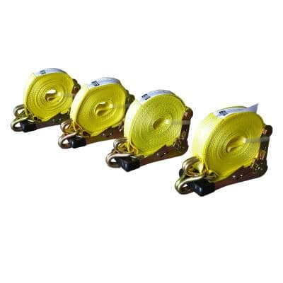 2 in. x 27 ft. x 10,000 lbs. J-Hook Ratchet Tie Downs (4-Pack)