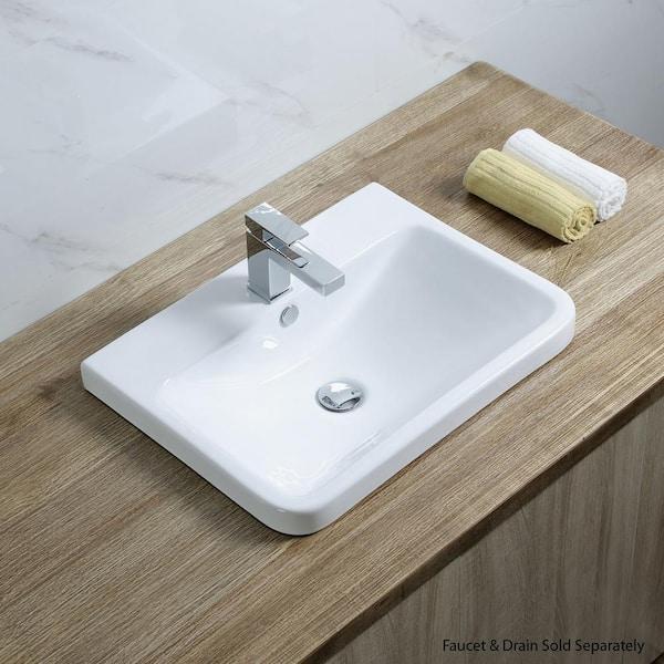 Luxier Rectangular 24 In Drop In Ceramic Bathroom Sink In White Cs 027 The Home Depot
