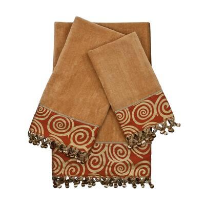 Swirley 3-Piece Gold Geometric Bath Towel Set