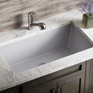 Silver Quartz Granite 33 in. Single Bowl Undermount Kitchen Sink with Matching Flange