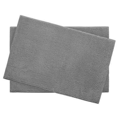 Plush Chenille Light Gray 17 in. x 24 in. Memory Foam 2-Piece Bath Mat Set
