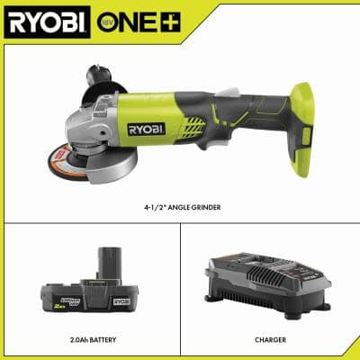 ONE+ 18V Cordless 4-1/2 in. Angle Grinder with 2.0 Ah Battery and Charger Kit