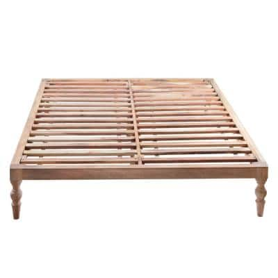 Rhona Brown Natural 61 in. x 81 in. x 13.50 in. Platform Bed with Easy Assembly