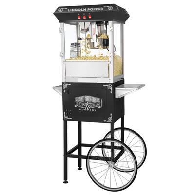 Lincoln 8 oz. Antique Black Popcorn Machine with Cart