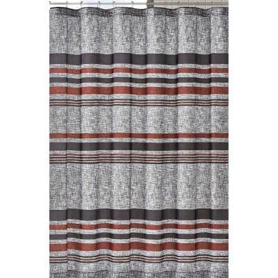 72 in. Grey and Black Warren Stripe Shower Curtain
