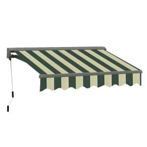 16 ft. Classic C Series Semi-Cassette Electric with Remote Retractable Awning (118in. Projection) in Green/Cream Stripes