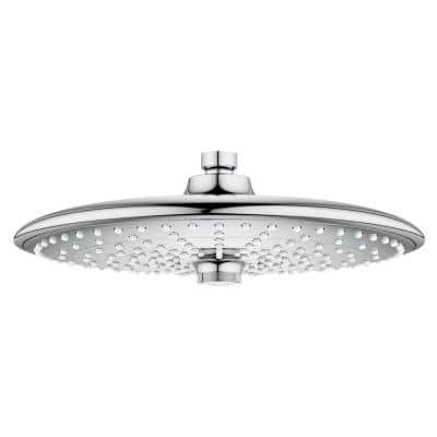 Vitalio 3-Spray 10 in. Single Wall Mount Fixed Rain Shower Head in Chrome