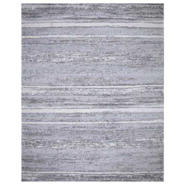 Stylewell Barcas Gray Stripe 8 Ft X 10 Ft Area Rug Sw1033 8x10 The Home Depot