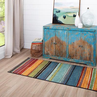 Rainbow Multi 2 ft. x 8 ft. Machine Washable Striped Runner Rug