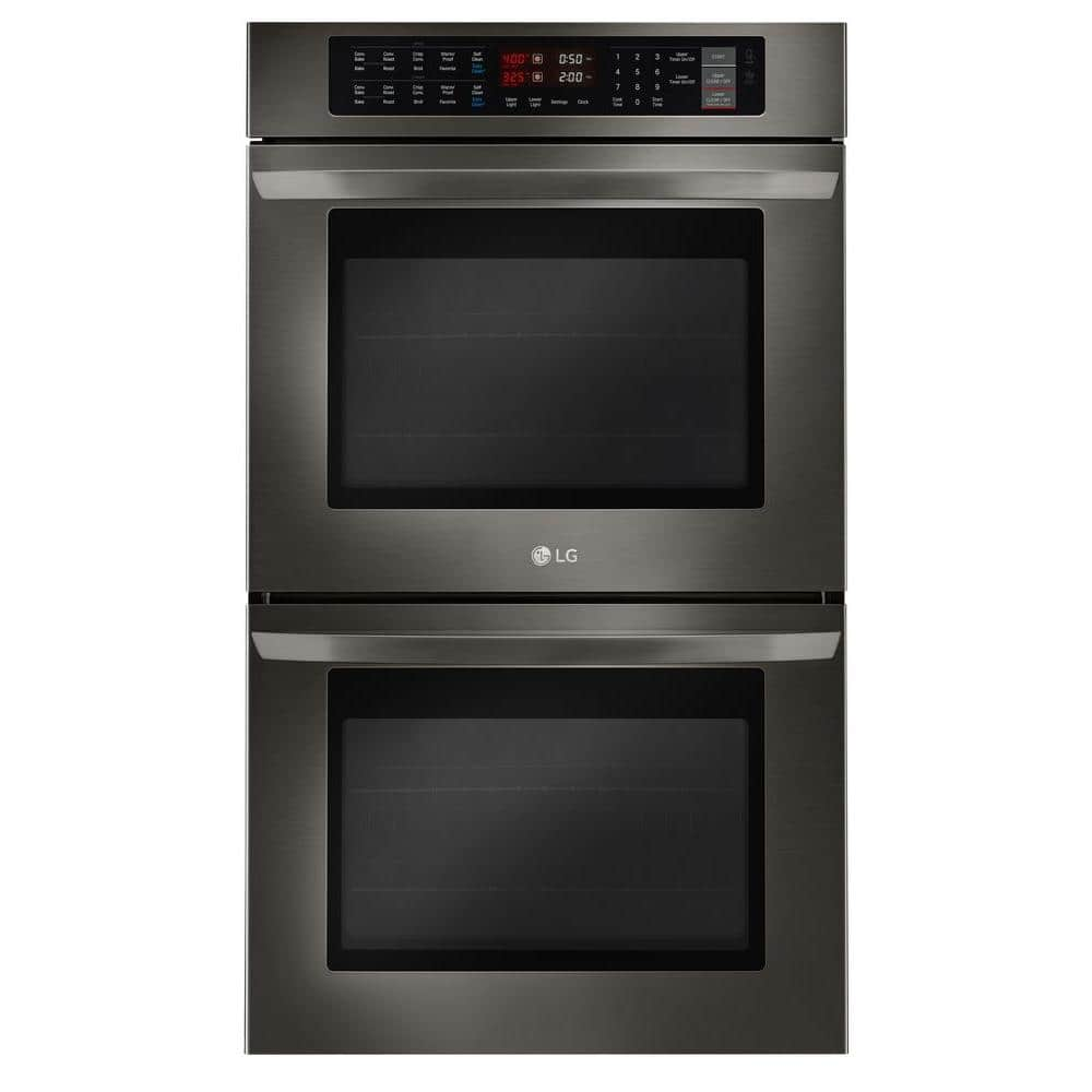 Lg Electronics 30 In Double Electric Wall Oven Self Cleaning With Convection And Easyclean Black Stainless Steel Lwd3063bd The Home Depot
