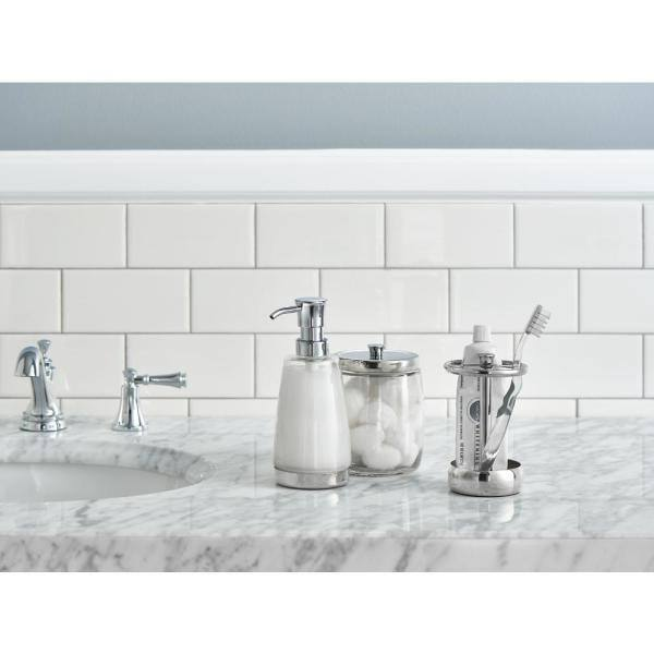 Delta 3 Piece Bathroom Countertop Accessory Kit With Soap Pump Toothbrush Holder And Canister In Polished Chrome 55048 Pc The Home Depot
