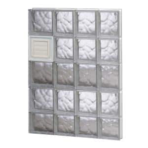 25 in. x 36.75 in. x 3.125 in. Frameless Wave Pattern Glass Block Window with Dryer Vent