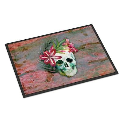 18 in. x 27 in. Indoor/Outdoor Day of The Dead Skull Flowers Door Mat