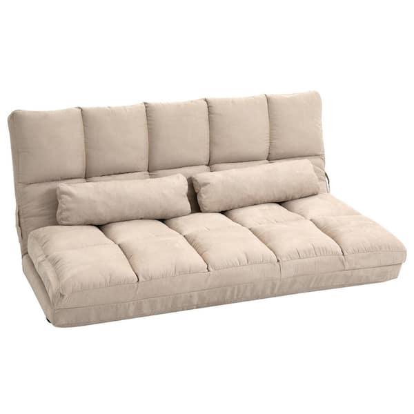 Beige Suede Double Floor Sofa Bed, Beige Sofa Bed Couch