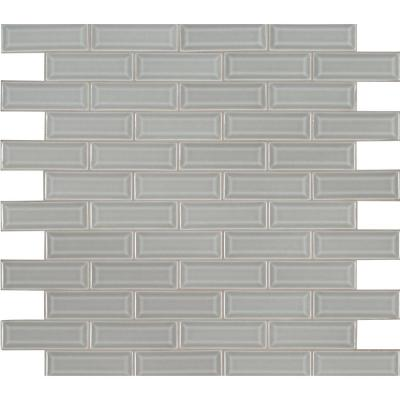Morning Fog Beveled 12 in x 12 in. x 10 mm Glossy Ceramic Mesh-Mounted Mosaic Tile (10 sq. ft./case)
