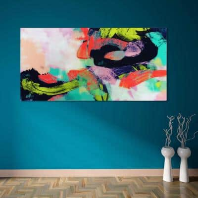 """Colorful"" Frameless Free Floating Tempered Art Glass by EAD Art Coop Wall Art"