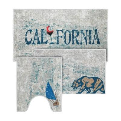 The US States California Design Solid Background Cotton Non-Slip Washable Thin 3-Piece Bathroom Rugs Sets