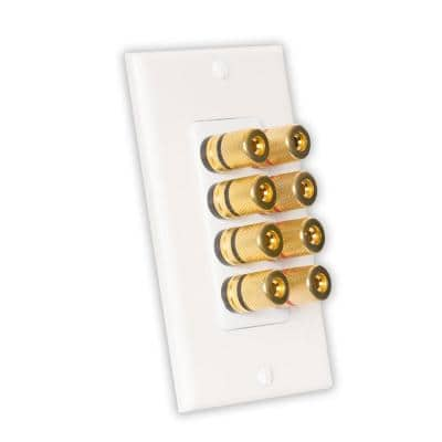 Home Theater Speaker Wire Wall Plate 4 Speaker 8 Posts