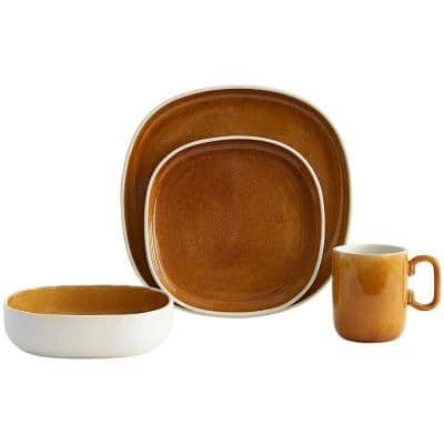 Sloan 16-Piece Amber Dinnerware Set in Ceramic (Service for 4)