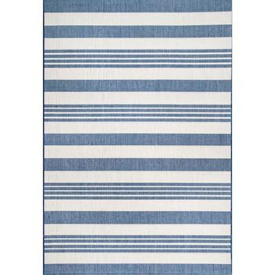 Robin Striped Coastal Blue 6 ft. x 9 ft. Indoor/Outdoor Area Rug