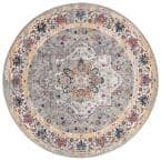 Evoke Gray 7 ft. x 7 ft. Round Medallion Floral Area Rug