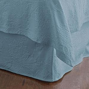 Putnam Matelasse 14 in. Dusty Blue Cotton King Bed Skirt