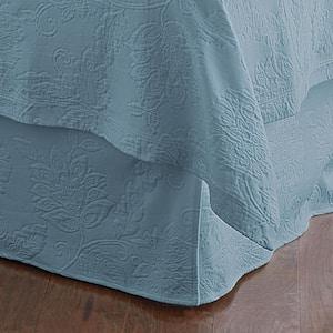 Putnam Matelasse 14 in. Dusty Blue Cotton Queen Bed Skirt