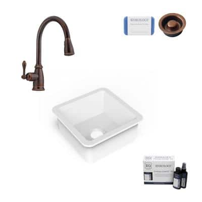 Amplify Undermount Fireclay 18.1 in. Single Bowl Bar Prep Sink with Pfister Faucet in Bronze and Disposal Drain