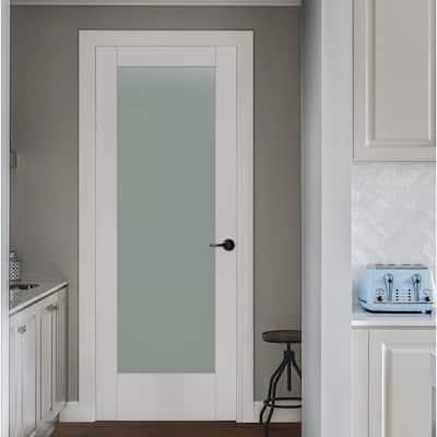 36 in. x 80 in. MODA Primed PMT1011 Solid Core Wood Interior Door Slab w/Translucent Glass