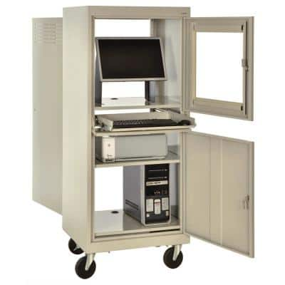 26 in. L x 24 in. D x 63 in. H Steel Mobile Computer Security Cart