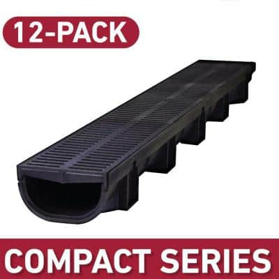 Compact Series 39.4 in. L x 5.4 in. W x 3.2 in. D Trench and Channel Drain Kit with Black Grates (12-Pack: 39.4 ft.)
