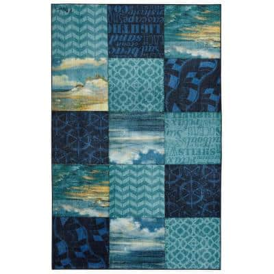 Beachscape Patchwork Navy 5 ft. x 8 ft. Patchwork Area Rug