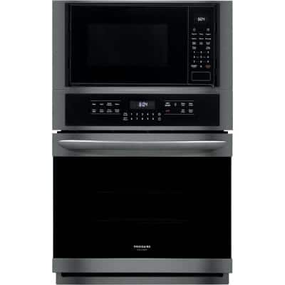 27 in. Electric True Convection Wall Oven with Built-In Microwave in Black Stainless Steel