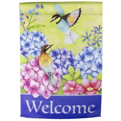 12.5 in. x 18 in. Welcome Floral Hummingbird Outdoor Garden Flag