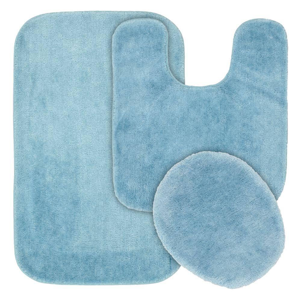 Garland Rug Traditional Basin Blue 3 Piece Washable Bathroom Rug Set Ba010w3p02j4 The Home Depot