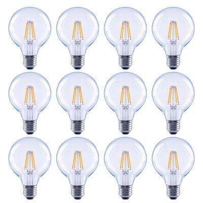 60-Watt Equivalent G25 Globe Dimmable Clear Glass Filament Vintage Style LED Light Bulb Soft White (12-Pack)