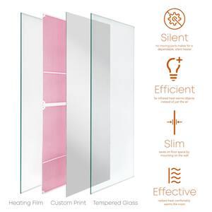 Glass Heater 500-Watt Radiant Wall Hanging Heat Panel with Decorative Artwork - Mirror