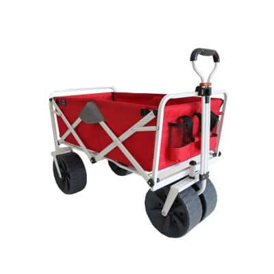Heavy-Duty Steel Collapsible Folding All Terrain Beach Wagon in Red and Grey