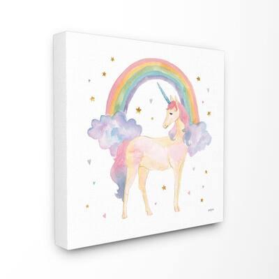 """24 in. x 24 in. """"Cute Unicorn Kids Nursery Rainbow Watercolor"""" by Jenaya Jackson Canvas Wall Art"""