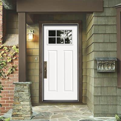 34 in. x 80 in. 6 Lite Craftsman Primed Steel Prehung Right-Hand Inswing Front Door w/Brickmould