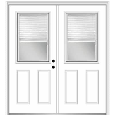 72 in. x 80 in. Internal Blinds Left-Hand Inswing 1/2-Lite Clear Glass 2-Panel Primed Steel Prehung Front Door