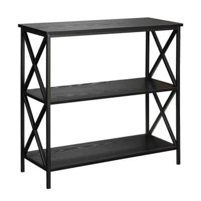 29.25 in. Black Metal 3-shelf Etagere Bookcase with Open Back