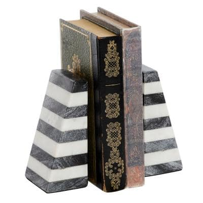 Modern 2.5 in. x 6 in. Each Striped Multi-Colored Marble Shapes Bookends