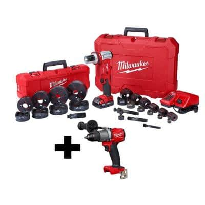 M18 18-Volt Lithium-Ion Cordless 1/2 in. to 4 in. Force Logic 6-Ton Knockout Tool Kit with Die Set and Hammer Drill