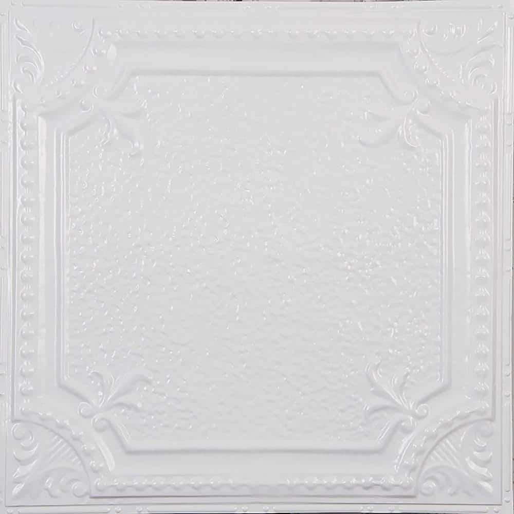 American Tin Ceilings Pattern 28 In Bright White Gloss 2 Ft X 2 Ft Nail Up Tin Ceiling Tile 20 Sq Ft Case Kit N P28 Wbg The Home Depot