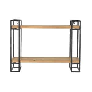 24 in. H x 24 in. W x 8 in. D Home Decorators Collection Wood and Black Metal Wall-Mount Bookshelf