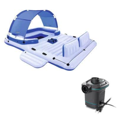 108 in. Blue Rectangular CoolerZ 6-Person Inflatable Raft with Electric Air Pump