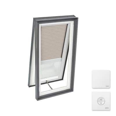 22-1/2 x 46-1/2 in. Venting Curb Mount Skylight, Tempered LowE3 Glass, Classic Sand Solar Powered Light Filtering Blind