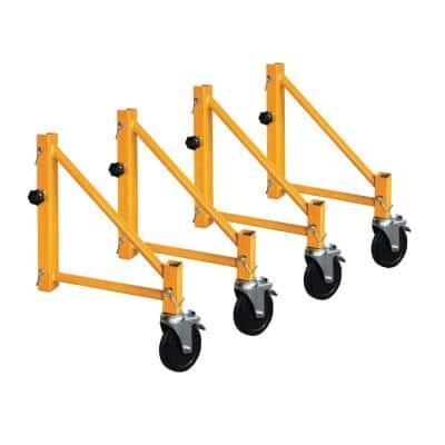 24 in. x 9 in. Steel Scaffolding Outrigger Set with Caster Wheels and Locking Pins for Maxi Square Baker Scaffold System